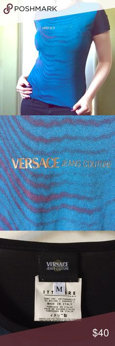 """Versace Jeans Couture zebra shortsleeve tee Beautiful Versace Jeans Couture tee!  Features  a purple and blue zebra print front panel, with a gold print saying """"Versace Jeans Couture"""".  Sleeves and back panel are solid black.  Fabric is a stretchy poly/ span blend.  This is a size medium, but it runs on the small side.  Very cool 90s vibe! Made in Italy. Versace Tops Tees - Short Sleeve"""