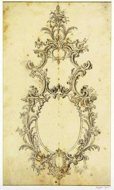 Arabesque, Bed Furniture, Furniture Design, Illustrations, Architectural Elements, Rococo, Wood Carving, Drawing, Flower Art