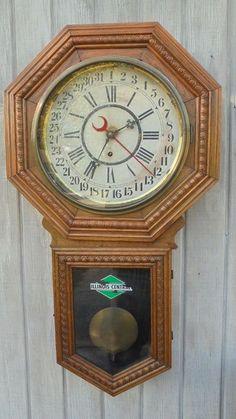 For+sale+at+Retrophoria.com,+$275.00+-+Antique+William+Gilbert+Large+Regulator+Calendar+Clock+Illinois+Railroad+c.+1910.+Large+ornate+Gilbert+school+house+depot+clock+Consort+model