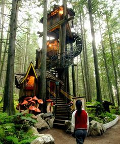 Enchanted Forest Hansel and Gretel meet Jack and the Beanstalk at this fairy tale tree house in Canada's Rockies. With phantasmagoric mushrooms guarding the entrance, visitors enter up a spiral stairway that leads to four levels of enchanted cottages straight out of the Brothers Grimm.Photo courtesy of The Enchanted Forest