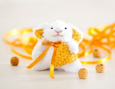 Easter Bunny Miniature bunny rabbit handmade with a by JuliaWine