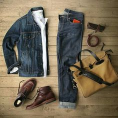 Outfit grid - Double denim perfection