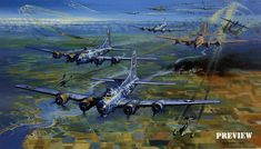 """The B-17's of the """"Bloody Hundredth"""", the 100th Bomb Group of the Eighth Air Force, over Hamburg."""