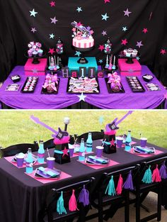 Bright & Girly Rockstar Birthday Party with pink candy apples, purple cupcakes, neon desserts, guitar centerpieces, cute party shirts and neon printables! Disco Party, Glow Party, Neon Party Decorations, Festa Monster High, Pop Star Party, Rockstar Birthday, 13th Birthday Parties, Birthday Ideas, 10th Birthday