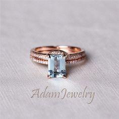 New Aquamarine Ring Set 6x8mm Emerald Cut Aquamarine Ring 14K Rose Gold & Diamonds Engagement Ring/ Wedding Ring from AdamJewelry on Etsy.