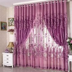 One+Panel+Grommet+Top+Country+Floral+Living+Room+Polyester+Sheer+Curtains+Shades+–+AUD+$+20.01