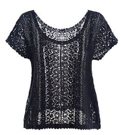 Women' Casual Round Neck Short Sleeve Lace T-shirt | fashionmia.com