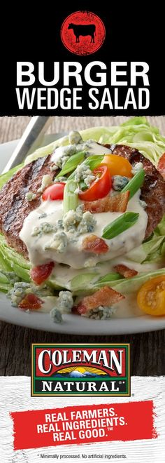 Low carb, but high on flavor, our Burger Wedge Salad is a perfectly convenient lunch or dinner.  Find out more: http://www.colemannatural.com/kitchen/burger-wedge-salad/