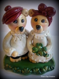 Polymer Clay Irish Bear Wedding Cake Topper by trinasclaycreations, $79.00