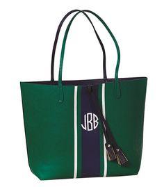 Monogram Green Navy Tote Bag Vegan Leather by embellishboutiquellc