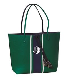 Monogram Green Navy Tote Bag Vegan Leather by embellishboutiquellc