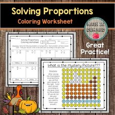 Students will be solving 16 problems on proportions. Students will then color in their answer to reveal a mystery picture. This is great practice for any class learning how to solve proportions because it also allows students to self assess themselves. If their answer is not in the mystery picture, ... Adding And Subtracting Integers, Adding Decimals, 9th Grade Math, Math Coloring Worksheets, Sorting Activities, Teacher Newsletter, Mystery, Students, Thanksgiving Turkey