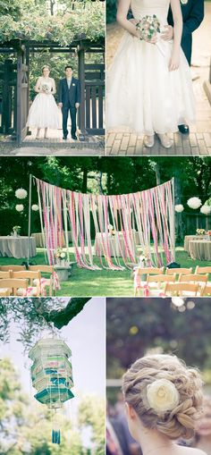Ribbon Backdrop in a Backyard Wedding.
