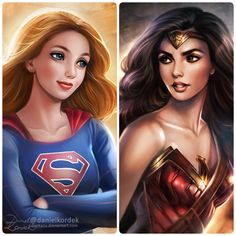 "I'm still working on new stuff so this time only a small comparison and ""fight"" of two Beauties from DC Comic. Which one you prefer? #Supergirl or #WonderWoman?"