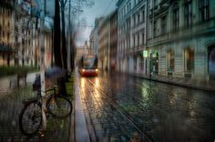 The Wonderful Atmospheric , Rain drenched Cityscapes of Eduard Gordeev His amazing photography seems to hang on the borderline of fantasy and painting, steeped in intrigue and atmosphere, and catching. Urban Landscape, Landscape Photos, Landscape Photography, Light Photography, Amazing Photography, Rainy Wallpaper, Sound Of Rain, Walking In The Rain, Photo Series