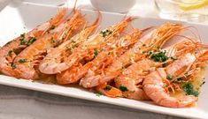 Receta de langostinos al horno con ajo y limón Shrimp, Seafood, Meat, Shape, Limeade Recipe, Cool Drinks, Garlic, Juicing, Appetizers