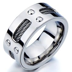 Man's Stainless Steel Ring Wedding Band with Steel Cables and Screws 10mm(28a)