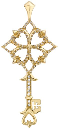 Theo Fennell Baby gold and diamond quatrefoil...
