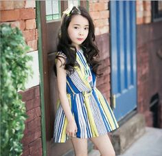 >> Click to Buy << 2016 Newest Girls Summer Colored Striped Dress Children Sleeveless Casual Party Princess Dress Fashion Kids Beach Dress #Affiliate