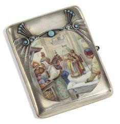 A Jewelled Silver and En Plein Enamel Cigarette Case Maker's mark 'WU.', Moscow, All Class ~~GG~~ Vintage Cigarette Case, Cigar Cases, Art Deco Movement, Smoking Accessories, Art Nouveau Jewelry, Antique Boxes, Vintage Tins, Box Art, Makers Mark