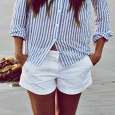 White denim shorts cuffed shortie Short white denim shorts  measurements coming soon. Pictures three and four show actual item  Cotton and spandex blend Photo credit: Pinterest  Ships immediately Shorts