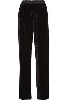 Fendi - Chiffon-trimmed velvet wide-leg pants