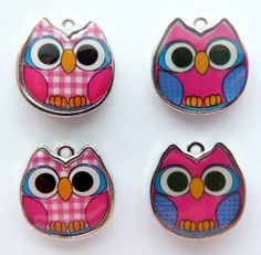 What a Hoot Pink and Blue Owl Charms Set of 4  by TheBlueBeadle, $3.75