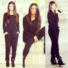 """#SelenaGomez goes long, straight, shiny & sleek for the Adidas NEO 2014 fashion show in NYC. Get her hot hair with our Supreme Clip-in One Piece 20"""". Shop the look at geehair.com."""