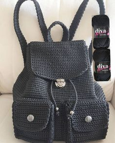 Diva Line is a wonderful backpack knitted with number 4 macrame ropes.- Diva Line A wonderful backpack knitted with number 4 macrame ropes 😊 Design 👉 mitja kočar. Crochet Backpack Pattern, Free Crochet Bag, Crochet Tote, Crochet Handbags, Crochet Purses, Cute Crochet, Crotchet Bags, Knitted Bags, Mochila Crochet