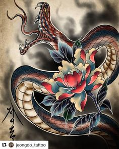 Japanese Snake Tattoo, Japanese Tattoo Designs, Irezumi, Japan Tattoo Design, Dune Art, Snake Art, Oriental Tattoo, Snake Design, Art Deco Pattern