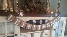 Let It Snow Banner Let It Snow Sign by RusticBurlapBanners on Etsy