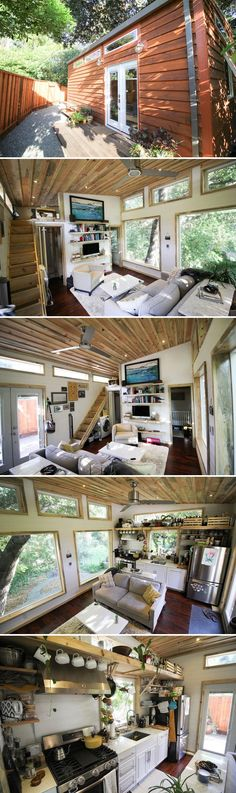 Check it out The Urban Cabin was built by Dave Bates at Portable Cedar Cabins. The cabin has a modern finish with rustic accents and full light French doors. The post The Urban Cabin was b . Tyni House, Tiny House Cabin, Tiny House Living, Tiny House Plans, Tiny House Design, Living Room, Tiny House Movement, Cedar Cabin, Casa Loft