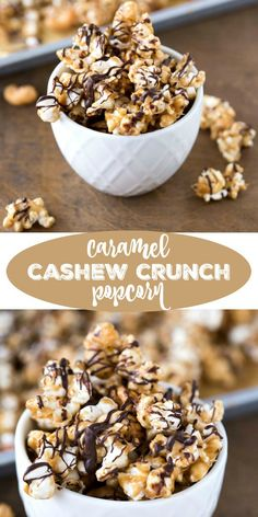 This baked Caramel Cashew Crunch Popcorn recipe is a delicious snack or dessert that's so easy to make! Gourmet Popcorn, Popcorn Snacks, Flavored Popcorn, Popcorn Recipes, Candy Recipes, Snack Recipes, Dessert Recipes, Popcorn Balls, Oreo Popcorn