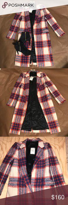 Zara long coat ! Zara Long Checked Coat  Wool-blend plaid coat from Zara, brand new with tags. Lightweight but keeps you warm!   No Trades! Zara Jackets & Coats Pea Coats