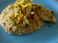 Recette de Dos de cabillaud au curry, poivron et piment