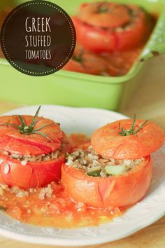 Greek Stuffed Tomatoes With Meat and Rice