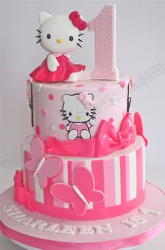 Celebrate with Cake!: 1st Birthday Hello Kitty Tier Cake and like OMG! get some yourself some pawtastic adorable cat apparel!