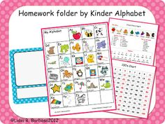 Miss Kindergarten: Guest Blogger- Kinder Alphabet {Free Homework Folders Kit}