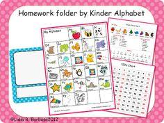 Miss Kindergarten: Guest Blogger- Kinder Alphabet {Free Homework Folders Kit}