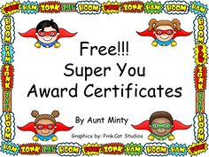 Awesome, adaptable award certificates for any occasion: end of the year, weekly or monthly incentive, even birthday awards. Each award depicts a different super hero so differentiating by students is a snap! Over 1000 downloaded so far!