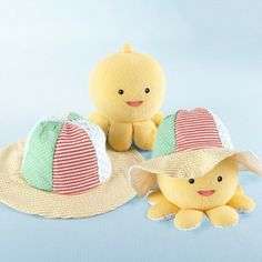"""Little Wader and Sun Shader"" Baby Sunhat and Plush Octopus Gift Set by Baby Aspen"