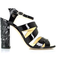 Chanel Black Patent Strappy Caged Sandals Size 39.5 Logo Flower Heel... ($766) ❤ liked on Polyvore featuring shoes, sandals, chanel sandals, black shoes, black patent leather shoes, black patent sandals and black sandals
