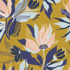 Unique mustard and blue floral pattern Textile Patterns, Print Patterns, Floral Patterns, Watercolor Pattern, Abstract Pattern, Floral Pattern Wallpaper, Motif Floral, Design Graphique, Floral Illustrations