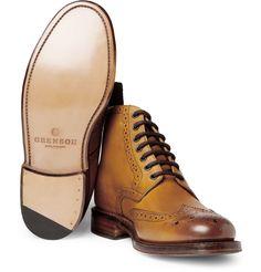 GrensonSharp Leather Brogue Boots|MR PORTER
