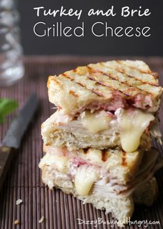 Turkey and Brie Grilled Cheese Creamy Brie, Roasted Turkey Breast, and a Cranberry Spread Stuffed Between two Pieces of Sourdough Bread and Grilled Until Crispy. Sandwich Recipes, Lunch Recipes, Fall Recipes, Cooking Recipes, Grilled Sandwich, Gourmet Sandwiches, Panini Sandwiches, Cheese Recipes, Grilling Recipes