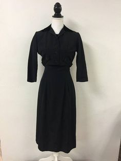 9e68e5c8cea Black 1950s 2 piece file dress Style Fashion
