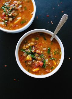 This healthy vegan lentil soup recipe comes together quickly with pantry ingredients. Mediterranean spices, fresh greens and a squeeze of lemon make it the best!
