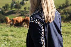 Elegant Swarovski appliqué on dark blue Boule coat from sisterMAG N° 4 #fashion #wardrobe