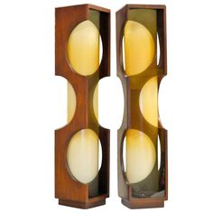 Pair of Space Age Rosewood & Smoked Lucite Lamps 1