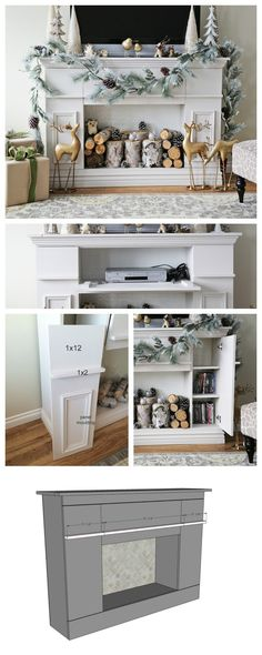 Ana White Build a Faux Fireplace Mantle with Hidden Storage Cabinets Free and Easy DIY Project and Furniture Plans Furniture Projects, Furniture Plans, Home Projects, Diy Furniture, Furniture Storage, White Furniture, Bedroom Furniture, Garden Furniture, Painted Furniture